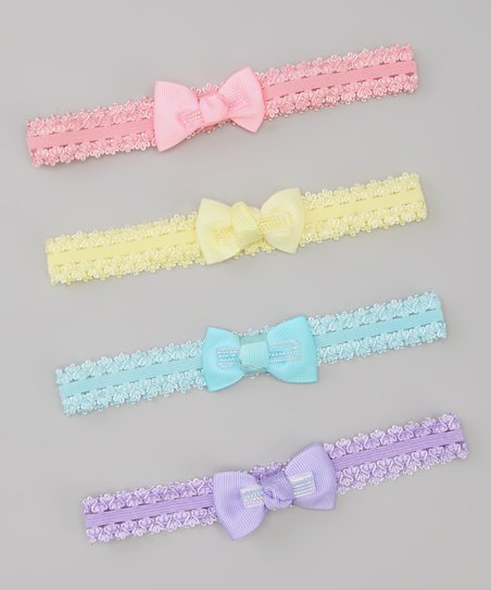 Pink & Blue Pastel Bow Headband Set