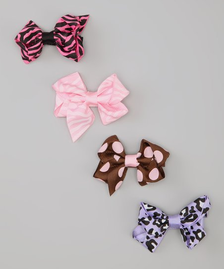 Pink & Brown Animal Bow Clip Set