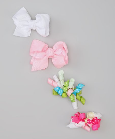 Pink & White Polka Dot Bow Clip Set