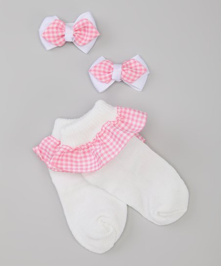 Pink &amp; White Gingham Socks &amp; Bow Set