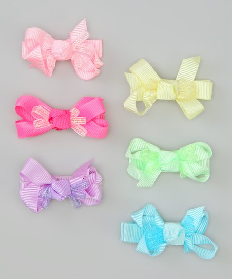 Pink & Purple Tiny Bow Clip Set