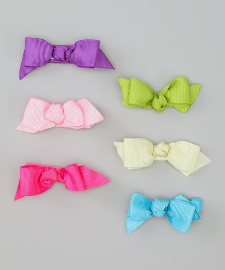 Pink & Purple Bow Clip Set