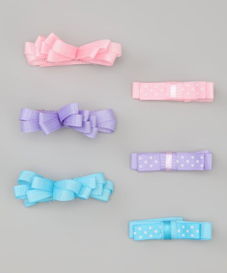 Pink & Blue Polka Dot Bow Clip Set