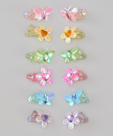 Pink & Blue Butterfly & Flower Clip Set