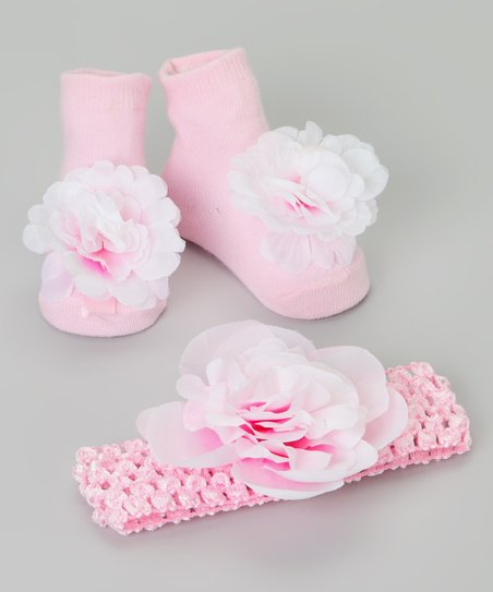 Pink Flower Booties & Headband