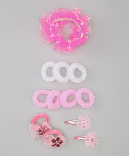 Pink &amp; White Clip &amp; Hair Tie Set