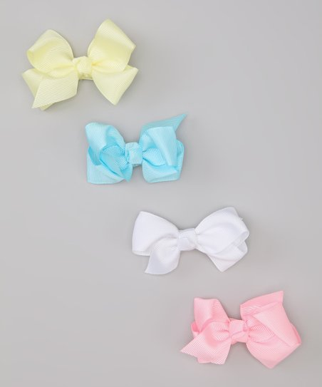 Pink & Yellow Pastel Bow Clip Set
