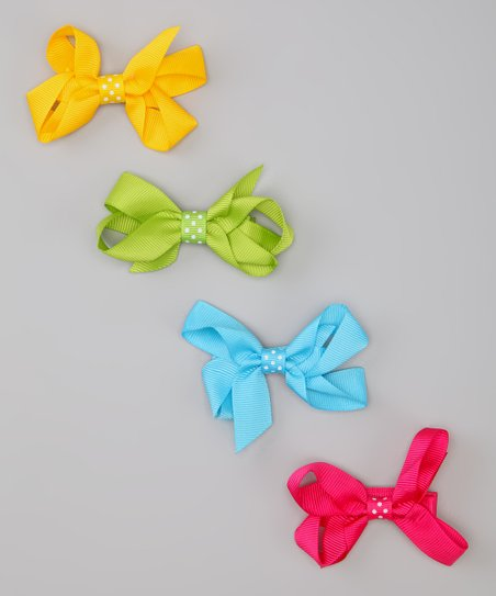 Yellow & Blue Primary Polka Dot Bow Clip Set