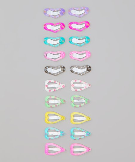 Pink & Blue Heart Clip Set