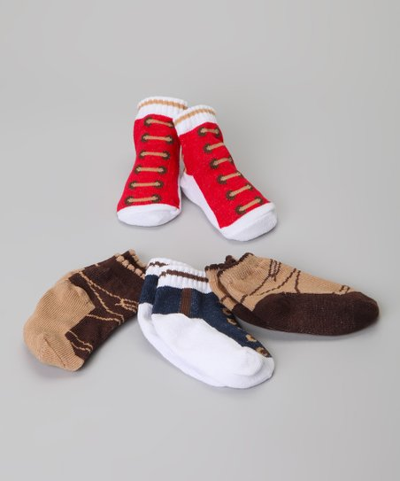 Red & Brown Shoe Sock Set