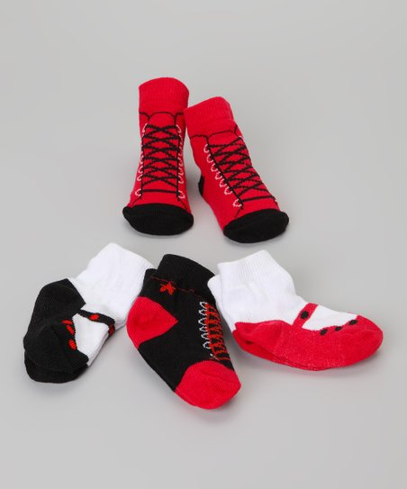 Black & Red Shoe Sock Set