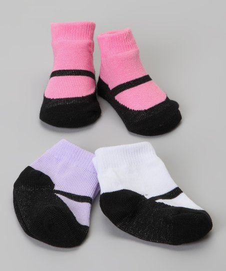 Pink &amp; Purple Mary Jane Sock Set