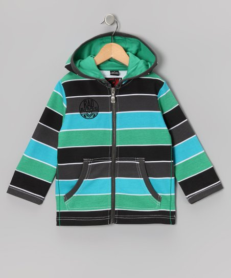 Kelly Green Stripe Zip-Up Hoodie - Toddler &amp; Boys
