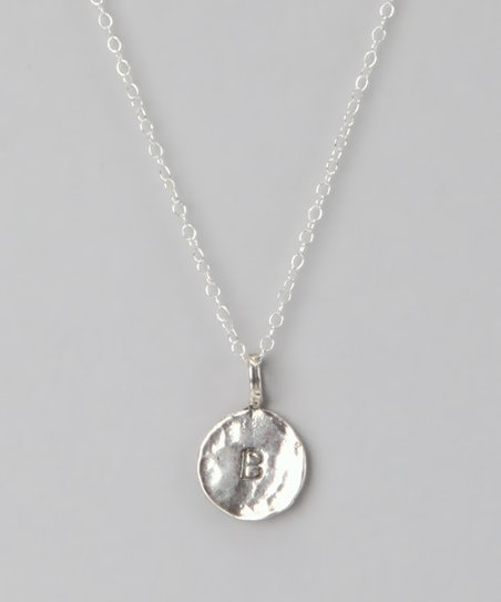 Sterling Silver 'B' Pendant Necklace