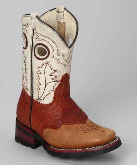 Tan Leather Cowboy Boot - Kids