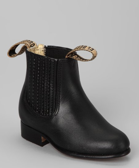 Black Leather Ankle Boot - Kids