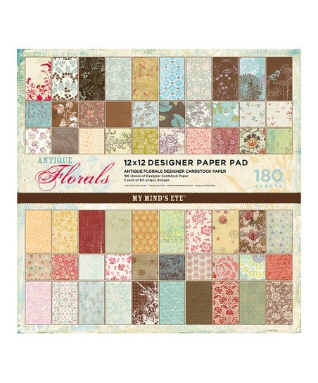 Antique Floral 180-Sheet Scrapbook Paper Pad
