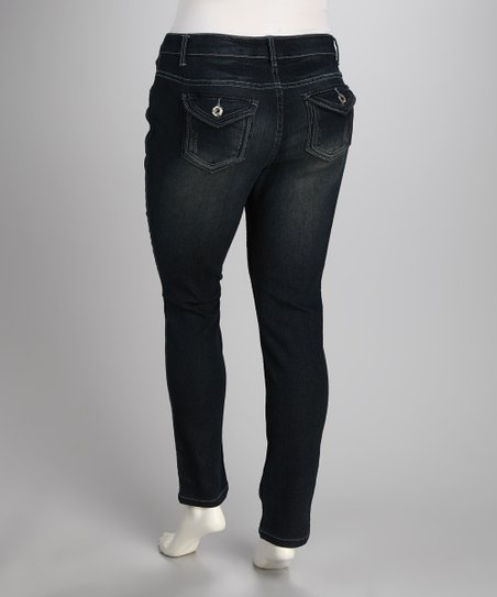 Corded Blue Perfect Flap Pocket Skinny Jeans - Plus