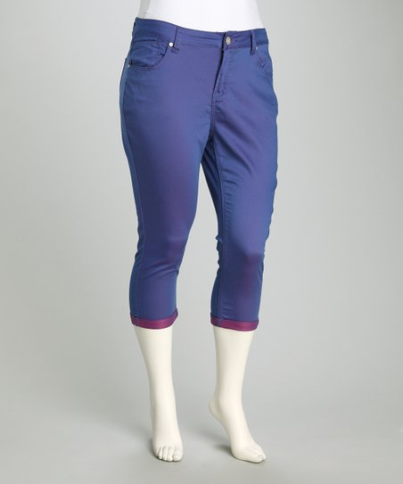 Blue Luna & Pink Pulse Perfect Plus-Size Capri Pants