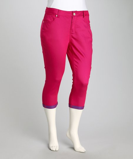 Pink Ginger & Bright Cobalt Perfect Plus-Size Capri Pants
