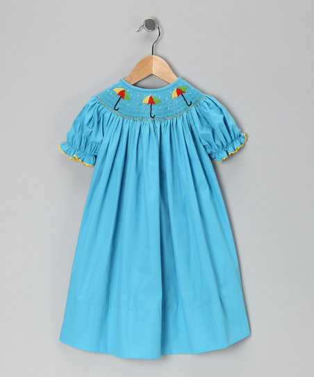 Turquoise Umbrella Bishop Dress - Toddler