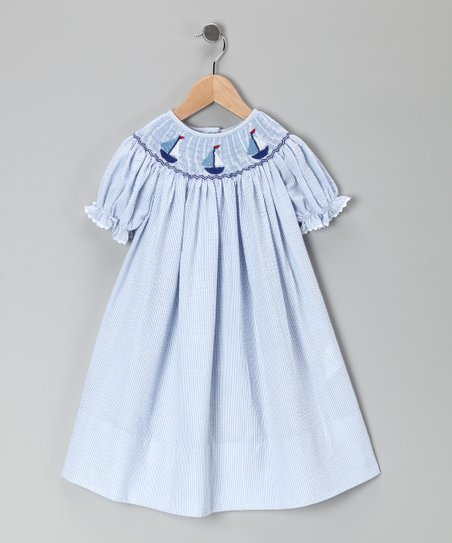 Blue Sailboat Bishop Dress - Toddler