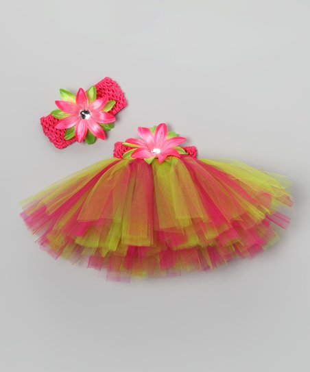 Hot Pink & Lime Floral Tutu Set - Infant, Toddler & Girls