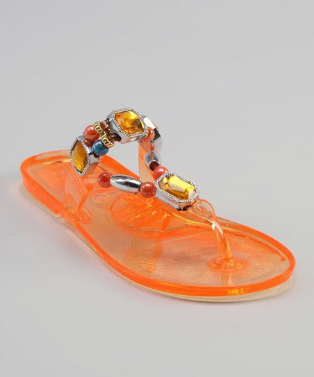 Sweet Girl Orange Crystal Sandal