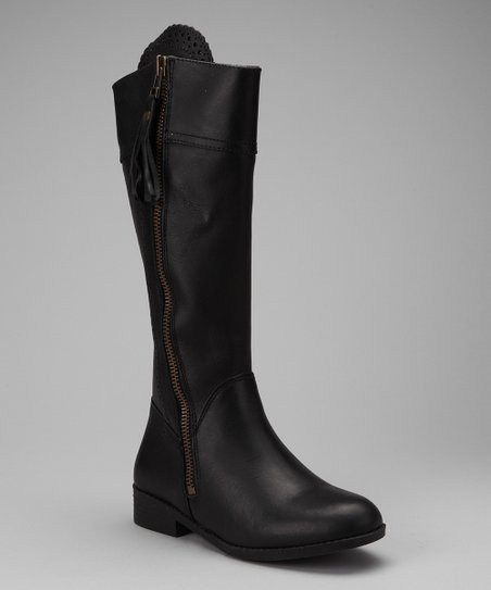 Black Tempt Equestrian Leather Boot - Women