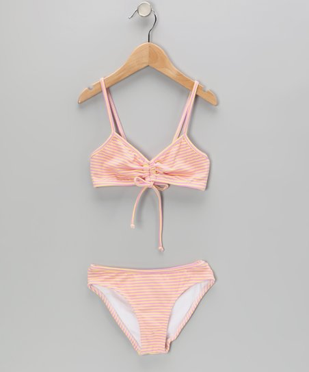 Pink & Yellow Stripe Bikini - Toddler & Girls
