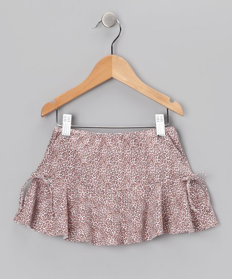 Tan Cheetah Swim Skirt - Girls