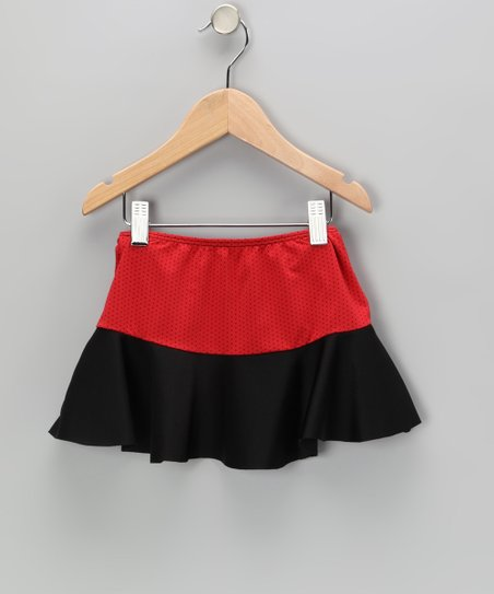 Red & Black Swim Skirt - Girls