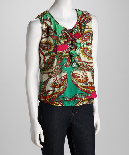 Green Paisley Ruffle Sleeveless Top