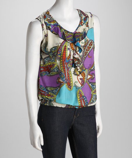 Purple Paisley Ruffle Sleeveless Top