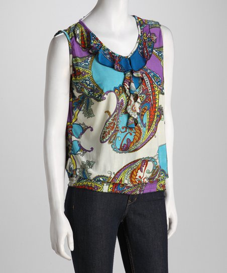 Turquoise Paisley Ruffle Sleeveless Top