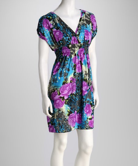 Purple Rose Surplice Dress