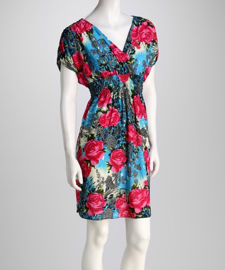 Turquoise Rose Surplice Dress