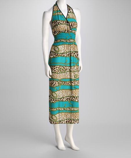 Turquoise Jungle Cat & Chain Halter Maxi Dress
