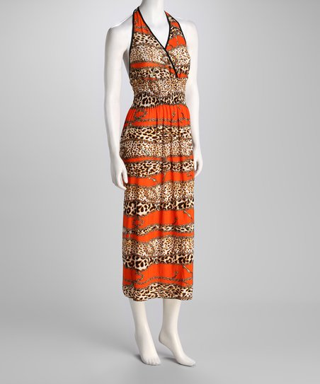 Orange Jungle Cat & Chain Halter Maxi Dress