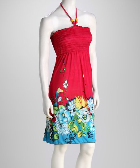 Red Floral Halter Dress