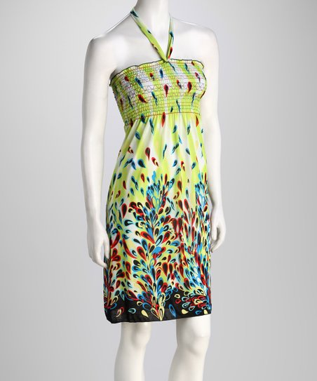 Lime Abstract Petal Halter Dress