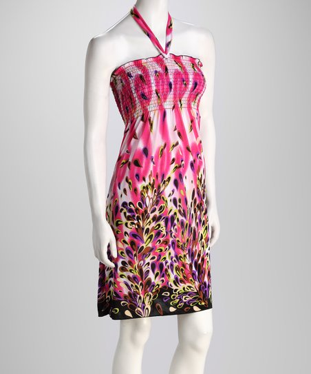 Pink Abstract Petal Halter Dress