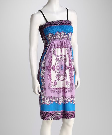 Purple Ornate Leopard Dress
