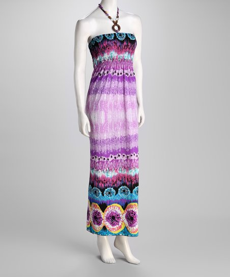 Purple Tie-Dye Halter Maxi Dress