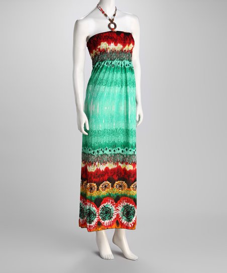 Turquoise Tie-Dye Halter Maxi Dress