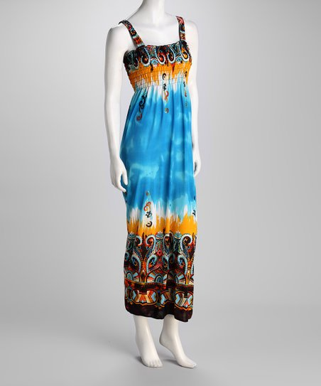 Turquoise Abstract Maxi Dress
