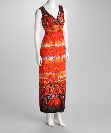 Orange Butterfly X-Back Maxi Dress