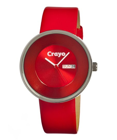 Red Button Leather-Strap Watch