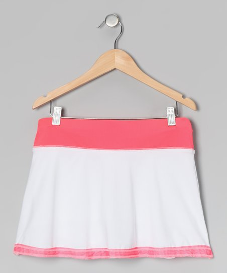 White & Coral Border Skirt