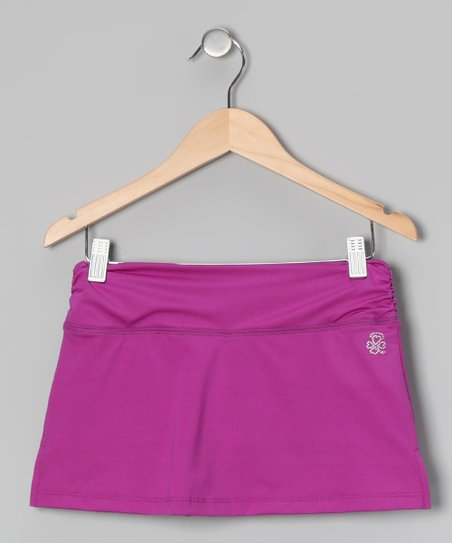 Purple Shirred Skort - Girls